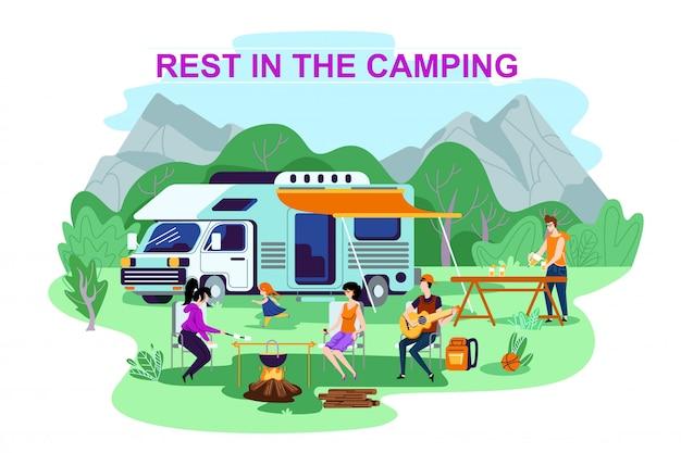 Рекламный плакат написан отдых в кемпинге