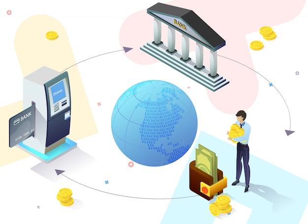Advertising poster online service banking slide.