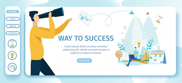Advertising poster way to success landing page.