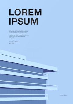 抽象的な建築の広告ポスター。超高層ビルの屋根と青色の背景。テキストのための場所を持つ垂直プラカード。カラフルなイラスト。