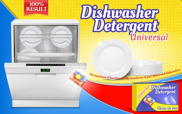 Advertising poster with dishwashing detergent, dishwasher machine with clean pla