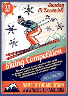 Advertising poster with illustration of a ski rider