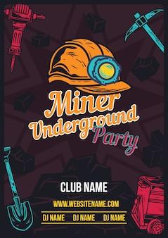 鉱山労働者のヘルメットと装備が付いた広告ポスター