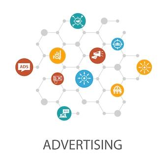 広告プレゼンテーションテンプレート、カバーレイアウト、インフォグラフィック。市場調査、プロモーション、ターゲットグループ、ブランド認知度のアイコン