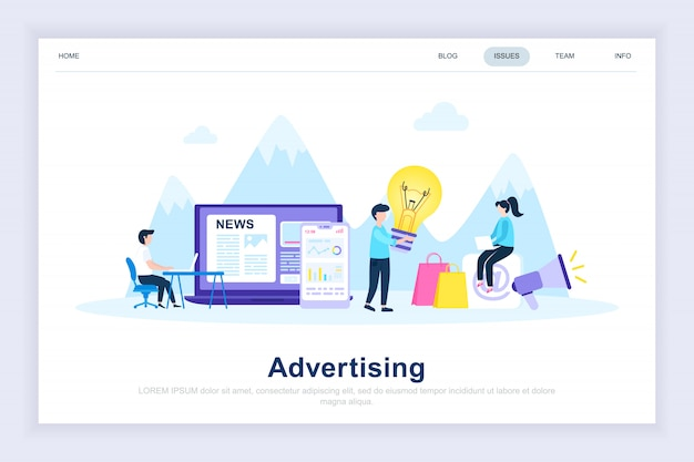 Advertising and promo modern flat landing page