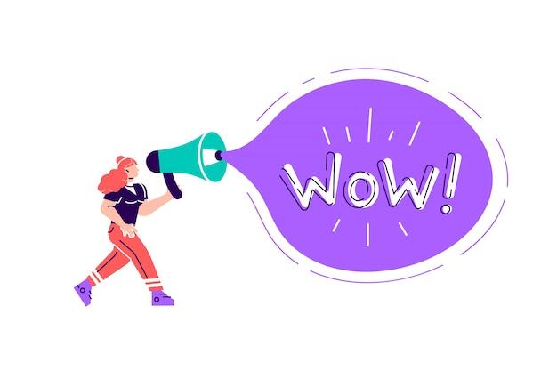 Рекламное продвижение. крик характера женщины в винтажном громкоговорителе, большой концепции маркетинга рекламы мегафона. объявления делового общения. мультфильм стиль иллюстрации дизайн