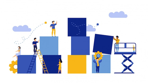 Advertising puzzle from cube block flat illustration.