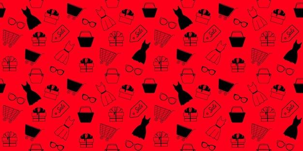 ショッピング用の婦人服やアクセサリーを使って、ブラックフライデーセールにシームレスなパターンを宣伝します。