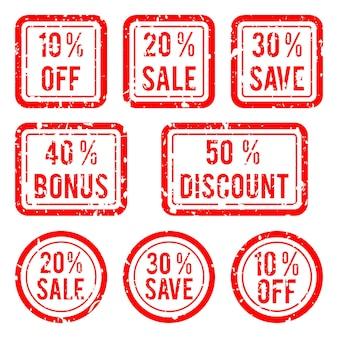 광고 우표 벡터. off 및 판매, 할인 및 보너스 스탬프 그림