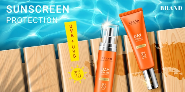 Advertising for sunscreen cream and spray