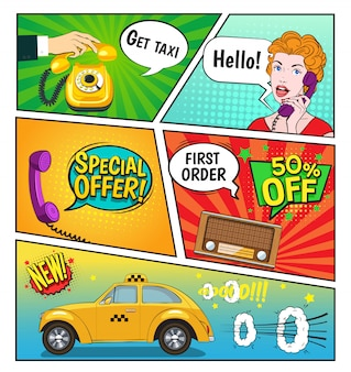 Advertising of taxi comic book page