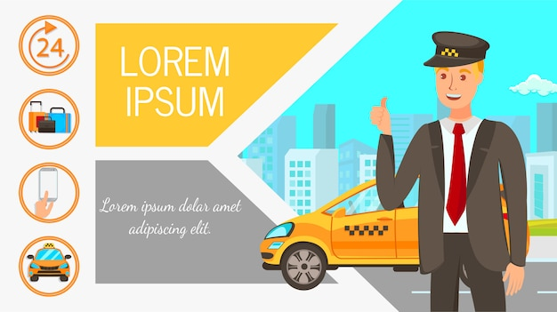 Advertising taxi flat web banner vector template