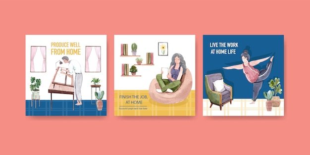 Advertising template design with people are working from home and exercise. home office concept watercolor vector illustration