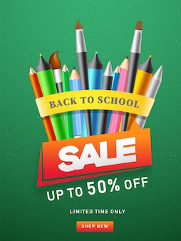 Advertising template or flyer design with colored pencil