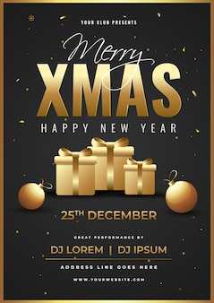 Advertising template or flyer  with gift boxes, baubles and event details for merry xmas and happy new year celebration.