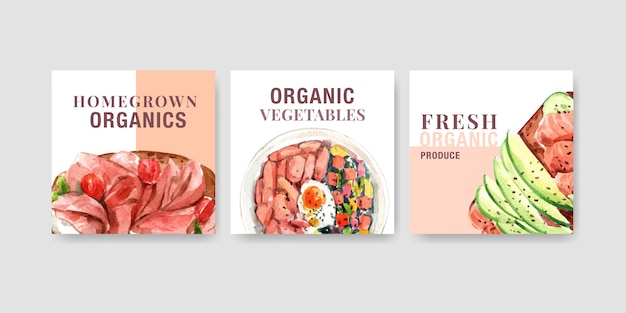 Modello di pubblicità con design di alimenti sani e biologici