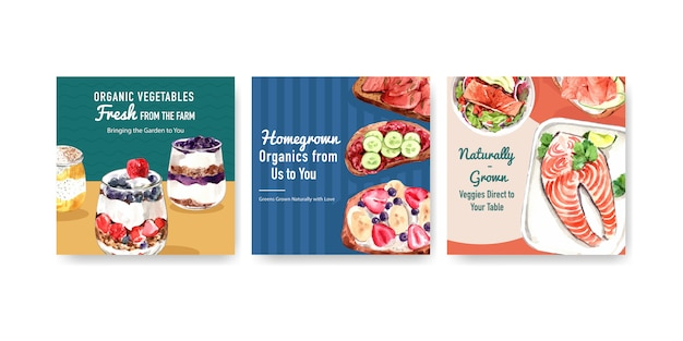 Advertising template with healthy and organic food design