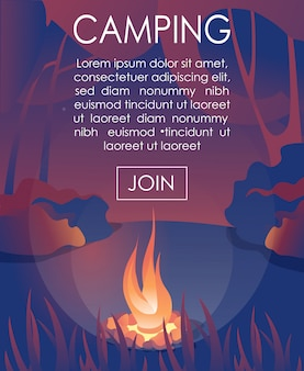 Advertising text banner inviting join to camping