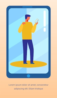 Advertising text banner with man using smartphone