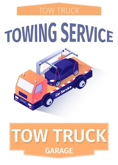 Advertising text poster for modern towing service