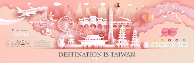 Рекламные туристические компании отправляются в корею с мировым именем. презентация тура, дизайн, шаблон, баннер, билет, бизнес, брошюра для рекламной иллюстрации ориентир азии с вырезом из бумаги.
