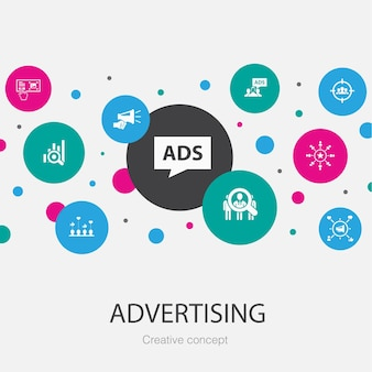 シンプルなアイコンで流行のサークルテンプレートを宣伝します。市場調査、プロモーション、ターゲットグループ、ブランド認知度などの要素が含まれています