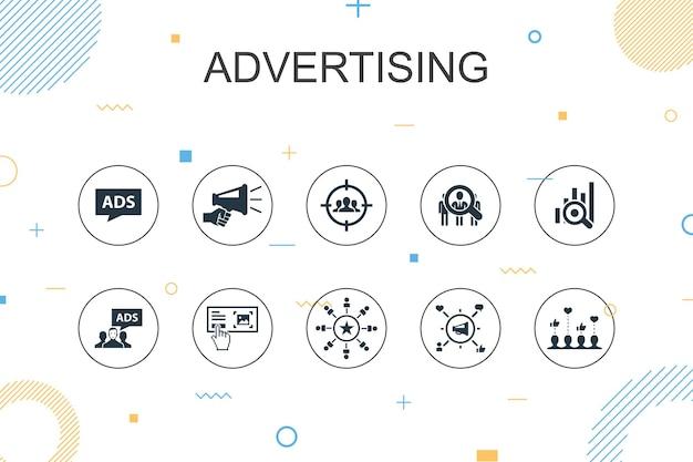 Рекламный модный инфографический шаблон. тонкая линия дизайна с исследованием рынка, продвижением, целевой группой, значками узнаваемости бренда