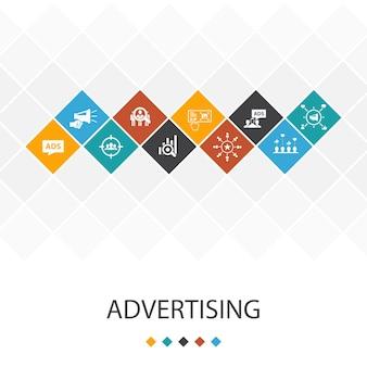 トレンディなuiテンプレートのインフォグラフィックの概念を宣伝します。市場調査、プロモーション、ターゲットグループ、ブランド認知度のアイコン