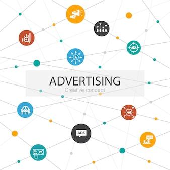 シンプルなアイコンで流行のウェブテンプレートを宣伝します。市場調査、プロモーション、ターゲットグループ、ブランド認知度などの要素が含まれています