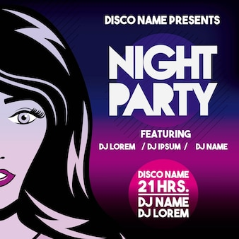 Advertising with girl icon. night party and disco. vector graphi