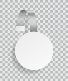 Рекламный воблер. рекламная пластиковая белая округлая скидка пустая наклейка для мерчендайзера в супермаркете с тенями вектор шаблон
