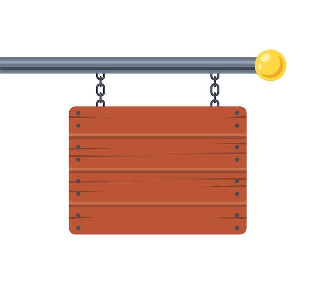 Рекламный деревянный знак висит на металлическом столбе. плоский