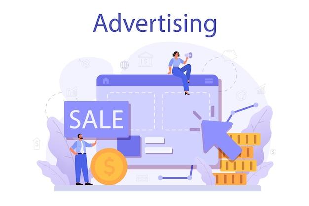 広告のコンセプト。商業広告と顧客のアイデアとのコミュニケーション。マーケティングキャンペーンと家庭外プロモーション。