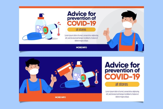 Advice for coronavirus banner template
