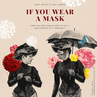 Advice on proper ways to wear a mask provided by who and vintage illustration vector social ad