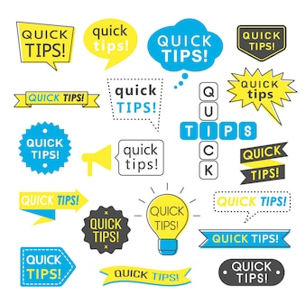 Советы, быстрые советы, полезные трюки и предложения, логотипы, эмблемы и баннеры изолированы.