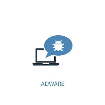 애드웨어 개념 2 컬러 아이콘입니다. 간단한 파란색 요소 그림입니다. 애드웨어 개념 기호 디자인입니다. 웹 및 모바일 ui/ux에 사용 가능
