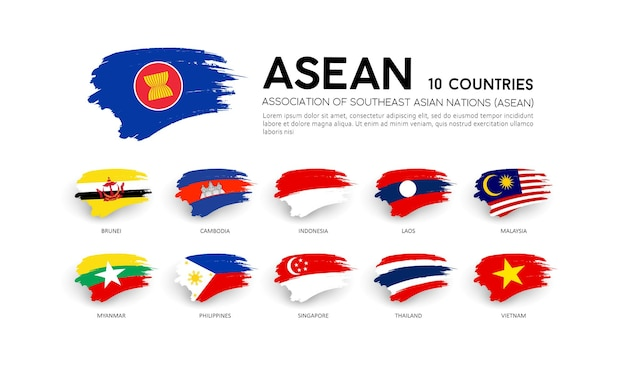 Aec asean economic community flags, brush stroke