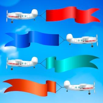 Aerial advertising airplanes parade
