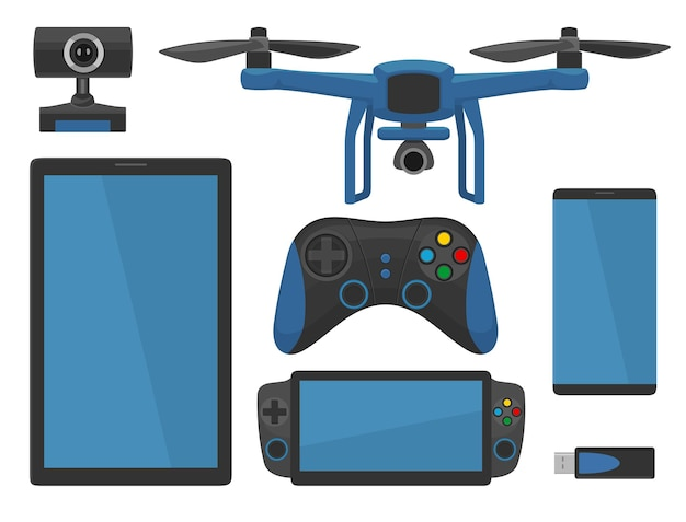Aerial drone with remote control, smartphone, camera, flash drive. vector flat color illustration. isolated on white background.