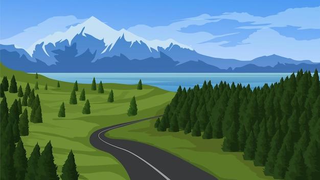 道路の湖と山のある空中の森の風景