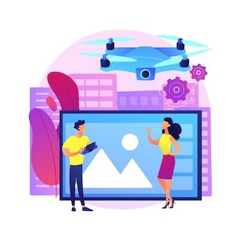 Illustrazione di concetto astratto di fotografia aerea. fotografia aerea commerciale, servizi di rilevamento aereo, foto di eventi con droni, tecnica di telerilevamento, pubblicità immobiliare.