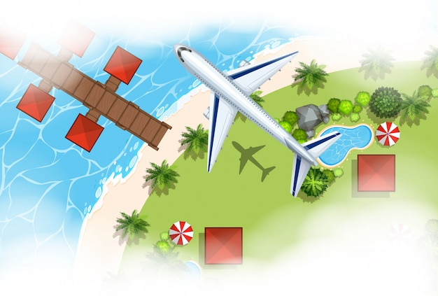 Aerial scene background of airplane flying over land