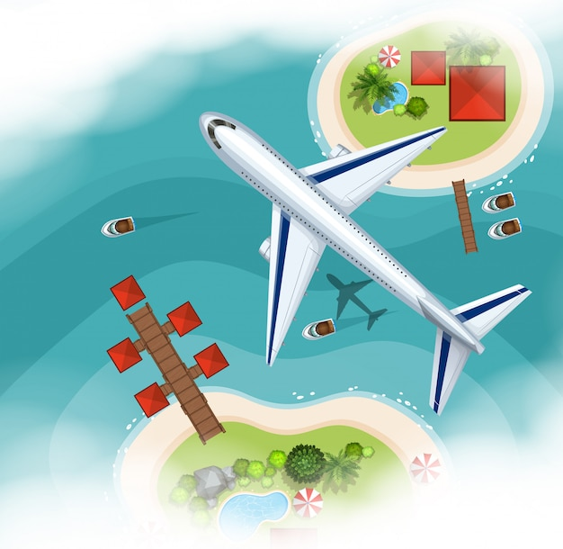 Aerial scene background with airplane flying ove the sea
