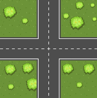 Aerial scene of intersection