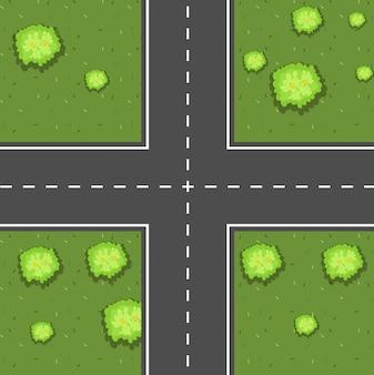 교차로의 공중 장면