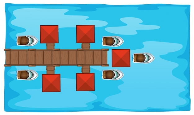 Воздушная сцена с мостом и лодками