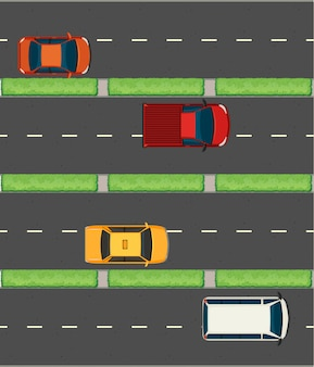 Aerial view of cars on the roads