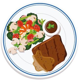 Vista aerea del cibo sulla piastra