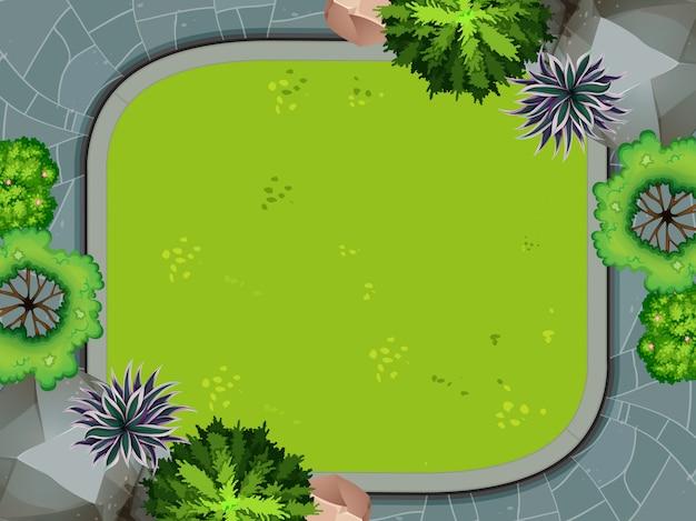 Aerial view of garden